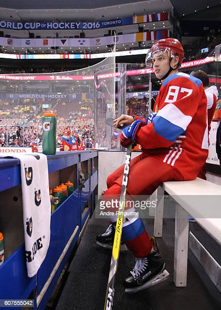 Vadim Shipachev of Team Russia takes a break prior to the game against Team Sweden during the World Cup of Hockey 2016 at Air Canada Centre on...