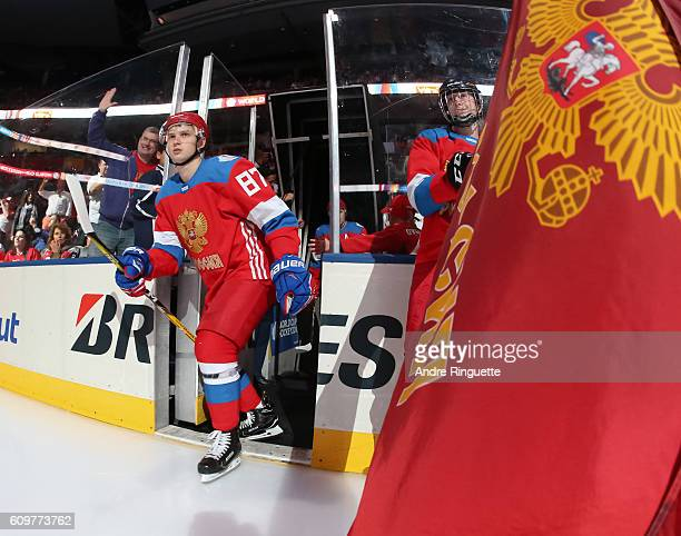 Vadim Shipachev of Team Russia takes to the ice prior to the game against Team Finland during the World Cup of Hockey 2016 at Air Canada Centre on...