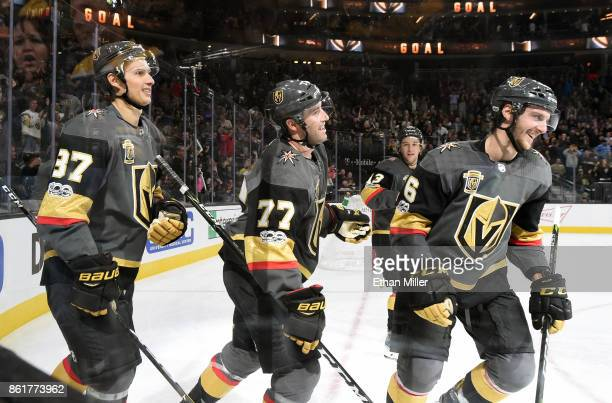 Vadim Shipachyov Brad Hunt Brendan Leipsic and Colin Miller of the Vegas Golden Knights celebrate a secondperiod goal by Alex Tuch against the Boston...