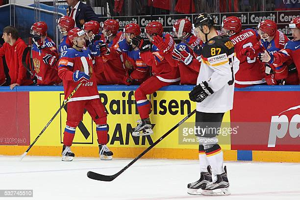 Vadim Shipachyov of Russia celebrates his second period goal against Germany with the team at Ice Palace on May 19 2016 in Moscow Russia Russia...