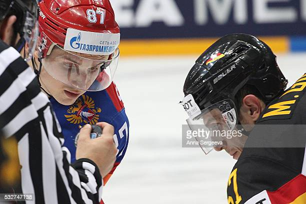 Vadim Shipachyov of Russia plays against Marcel Goc of Germany at Ice Palace on May 19 2016 in Moscow Russia Russia defeated Germany 41