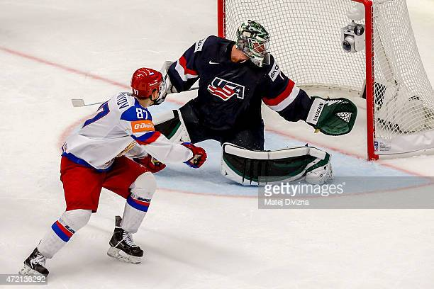 Vadim Shipachyov of Russia tries to score against Jack Campbell, goalkeeper of USA, during the IIHF World Championship group B match between Russia...