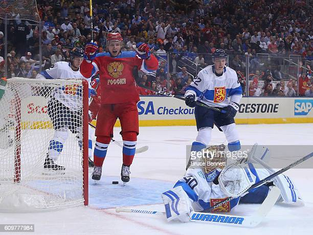 Vadim Shipachyov of Team Russia celebrates a second period goal by Ivan Telegin against Team Finland during the World Cup of Hockey tournament at the...
