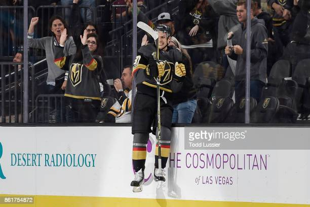 Vadim Shipachyov of the Vegas Golden Knights celebrates after scoring his first career NHL goal while playing in his first career NHL game against...