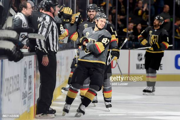Vadim Shipachyov of the Vegas Golden Knights celebrates after scoring his first career NHL goal against the Boston Bruins during the game at TMobile...