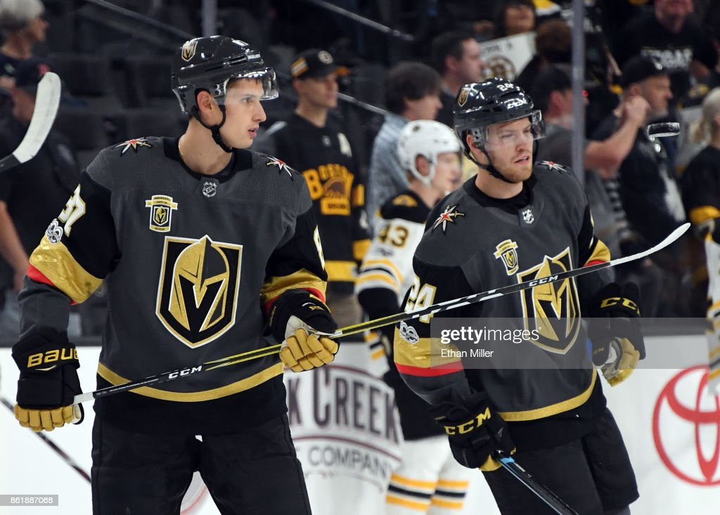 Vadim Shipachyov #87 of the Vegas Golden Knights picks up a puck with his stick during warmups before the team's game against the Boston Bruins at T-Mobile Arena on October 15, 2017 in Las Vegas, Nevada. The Golden Knights won 3-1.