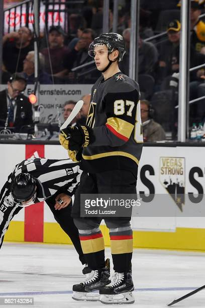 Vadim Shipachyov of the Vegas Golden Knights plays in his first career NHL game against the Boston Bruins during the game at TMobile Arena on October...