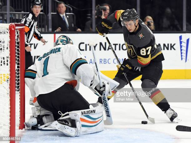 Vadim Shipachyov of the Vegas Golden Knights shoots against Troy Grosenick of the San Jose Sharks in the second period of their preseason game at...