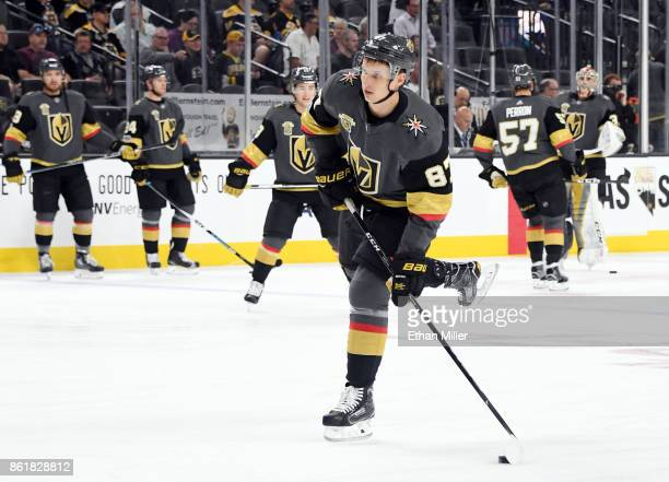 Vadim Shipachyov of the Vegas Golden Knights shoots during warmups before the team's game against the Boston Bruins at TMobile Arena on October 15...