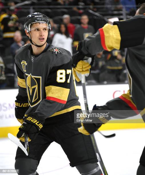 Vadim Shipachyov of the Vegas Golden Knights skates during warmups before the team's game against the Boston Bruins at TMobile Arena on October 15...