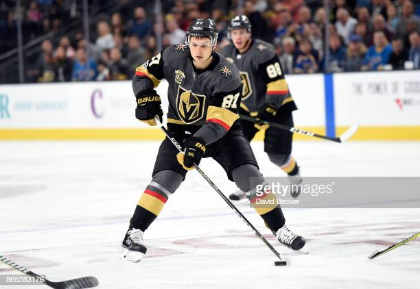 Vadim Shipachyov of the Vegas Golden Knights skates with the puck against the St Louis Blues at TMobile Arena on October 21 2017 in Las Vegas Nevada...