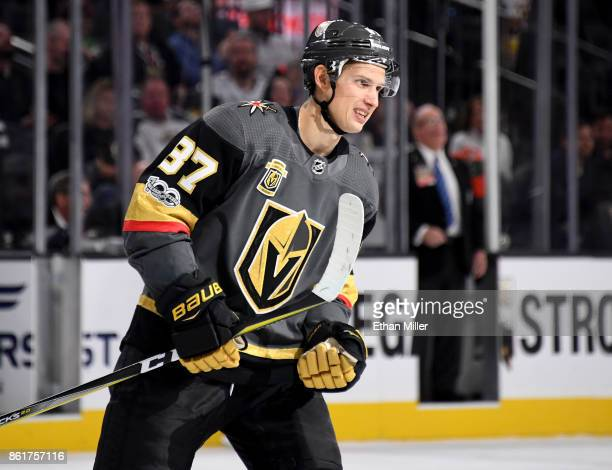 Vadim Shipachyov of the Vegas Golden Knights smiles after scoring a secondperiod goal against the Boston Bruins during their game at TMobile Arena on...