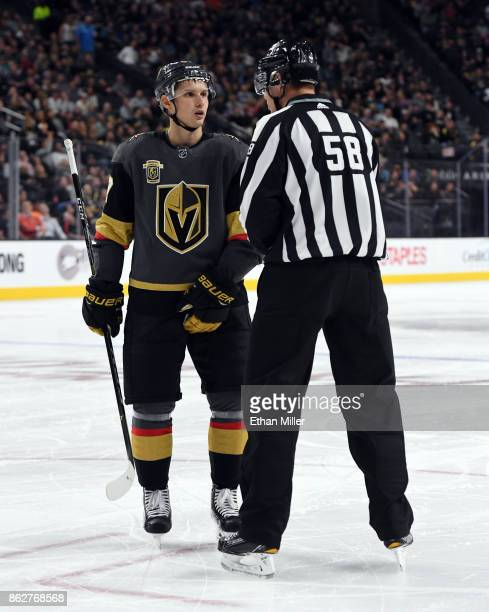 Vadim Shipachyov of the Vegas Golden Knights talks to linesman Ryan Gibbons in the second period of the Golden Knights' game against the Buffalo...