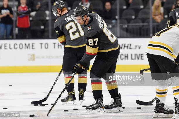 Vadim Shipachyov of the Vegas Golden Knights warms up prior to playing in his first career NHL game against the Boston Bruins at TMobile Arena on...