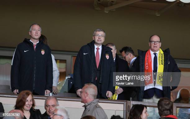 Vadim Vasilyev President Dmitri Rybolovlev and Prince Albert II of Monaco attend the UEFA Champions League Quarter Final second leg between AS Monaco...