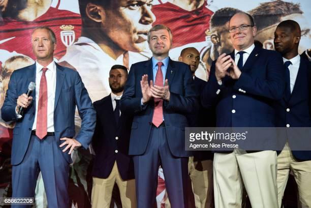 Vadim Vasilyev vice president and Dmitri Rybolovlev president of Monaco and Prince Albert II during AS Monaco French Ligue 1 Winners Parade on May...