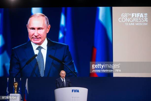 Vadimir Putin speaks during the 68th FIFA Congress at Expotsentr on June 13 2018 in Moscow Russia