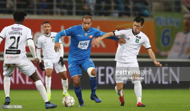 Vadis Odjidja of Kaa Gent and Naomichi Ueda of Cercle fight for the ball during the Jupiler Pro League match between KAA Gent and Cercle Brugge KSV...