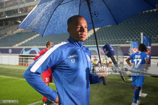 Vadis Odjidja of KAA Gent speaks during an interview after the UEFA Champions League PlayOff first leg match between KAA Gent and Dynamo Kyiv at...