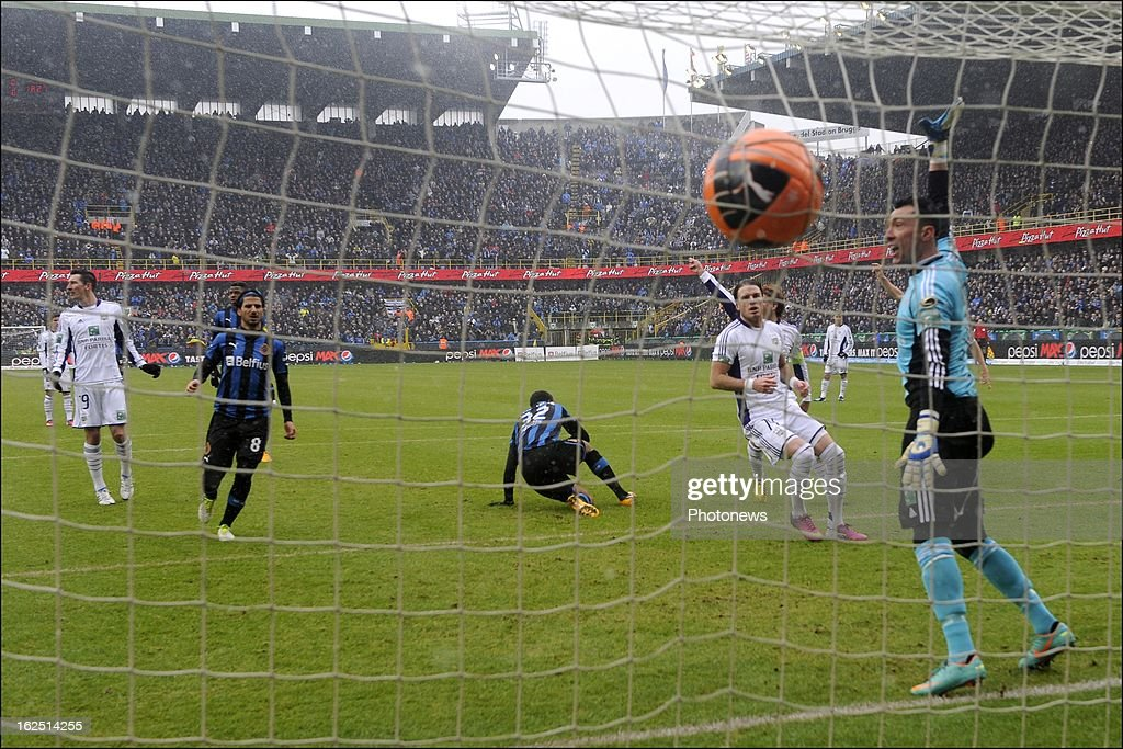 Vadis Odjidja Ofoe of Club Brugge KV scores the opening goal during the Jupiler League match between Club Brugge and RSC Anderlecht on February 24, 2013 in the Jan Breydel Stadium in Brugge, Belgium.