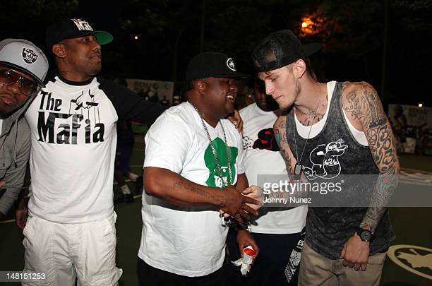 Vado, Maino, Fred The Godson, and Machine Gun Kelly attend the Machine Gun Kelly Take Over at Rucker Park on July 10, 2012 in New York City.