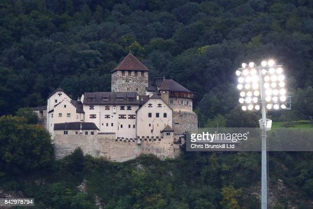 Vaduz Castle is seen on a hill overlooking the stadium ahead of the FIFA 2018 World Cup Qualifier between Liechtenstein and Spain at Rheinpark...