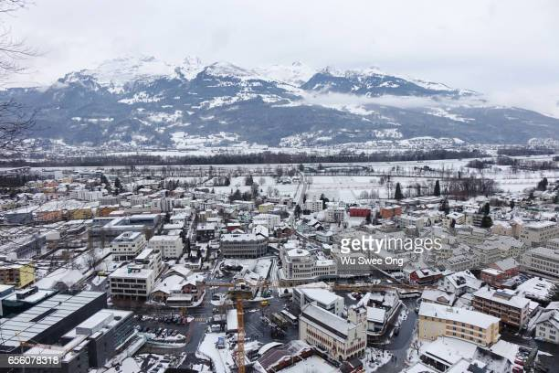 vaduz in winter - vaduz stock pictures, royalty-free photos & images