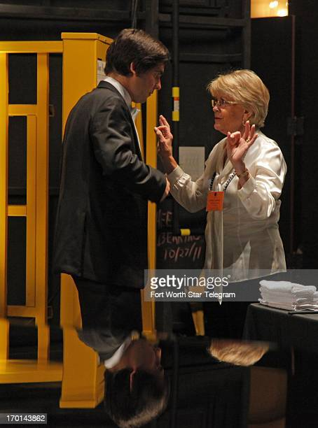 Vadym Kholodenko of the Ukraine gets some reassuring words from backstage mother Kathie Cummins before going on stage with the Fort Worth Symphony...