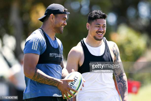 Vaea Fifita and Ben Lam enjoy a laugh during a Hurricanes Super Rugby training session at Scots College on December 09 2019 in Wellington New Zealand