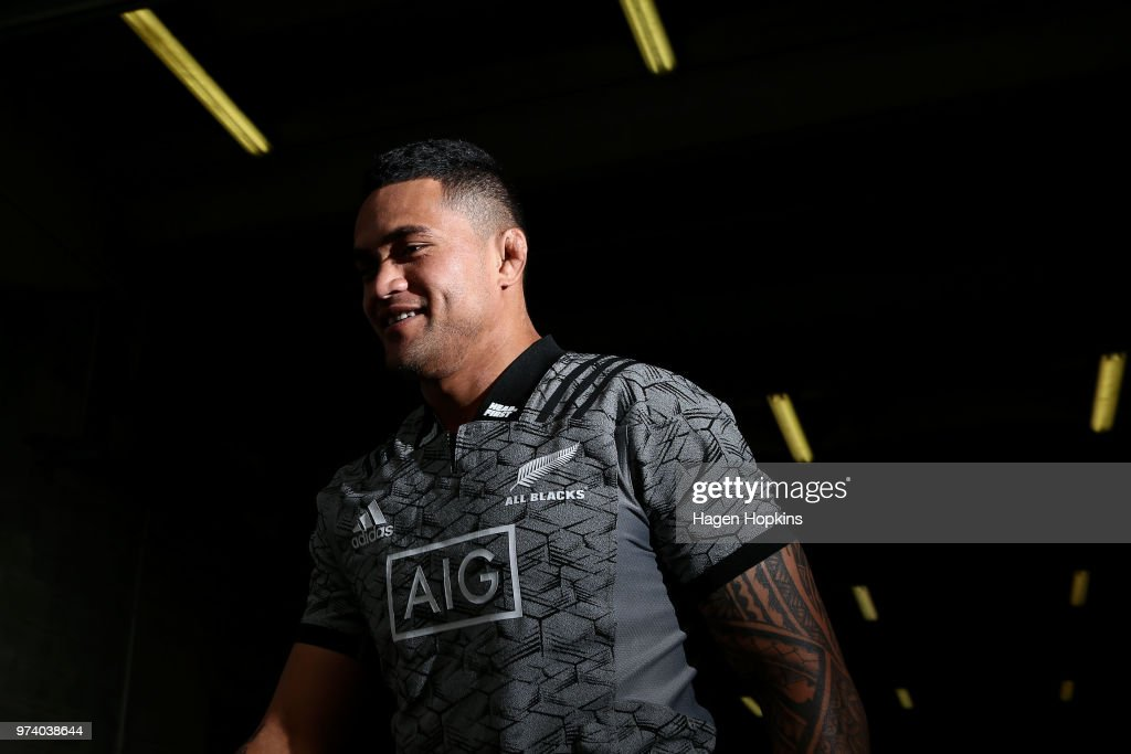 Vaea Fifita looks on during a New Zealand All Blacks training session at Westpac Stadium on June 14, 2018 in Wellington, New Zealand.