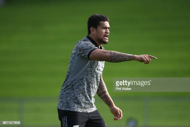 Vaea Fifita of the All Blacks during a New Zealand All Blacks training session at Mt Smart Stadium on June 5 2018 in Auckland New Zealand