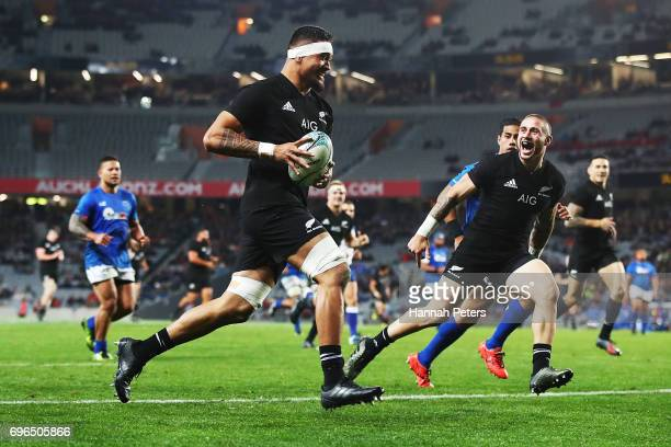 Vaea Fifita of the All Blacks runs over to score a try during the International Test match between the New Zealand All Blacks and Samoa at Eden Park...
