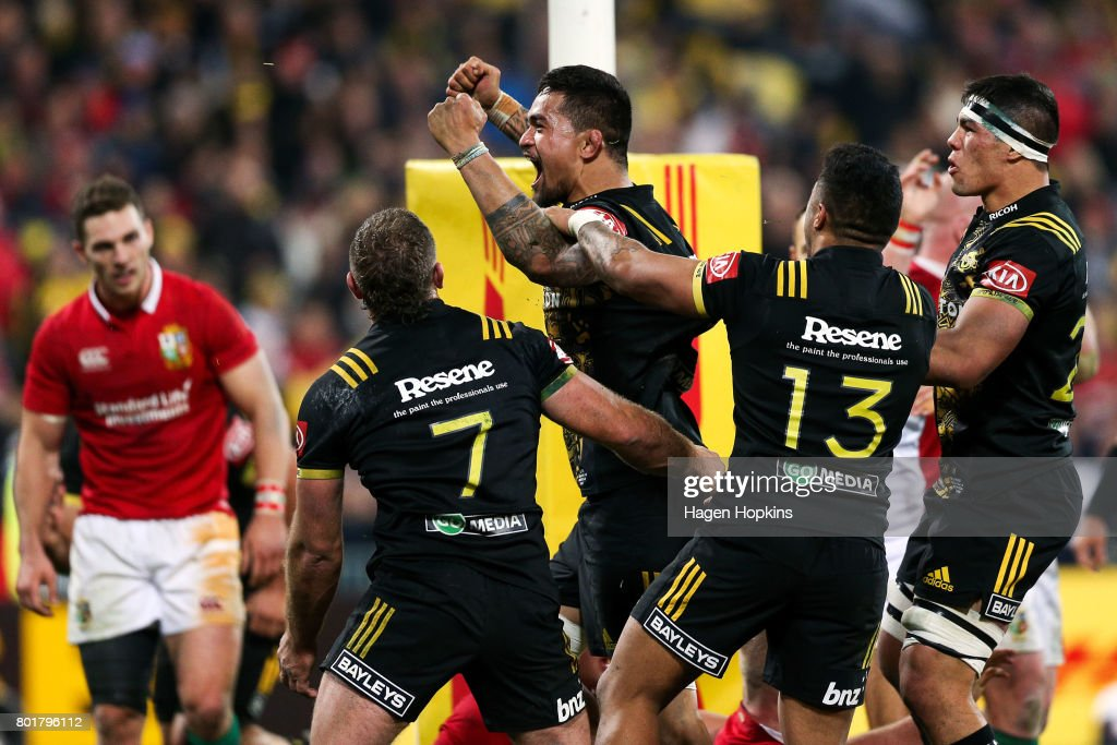 Vaea Fifita of the Hurricanes celebrates after scoring a try during the match between the Hurricanes and the British & Irish Lions at Westpac Stadium on June 27, 2017 in Wellington, New Zealand.