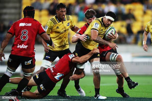 Vaea Fifita of the Hurricanes charges forward during the round four Super Rugby match between the Hurricanes and the Crusaders at Westpac Stadium on...