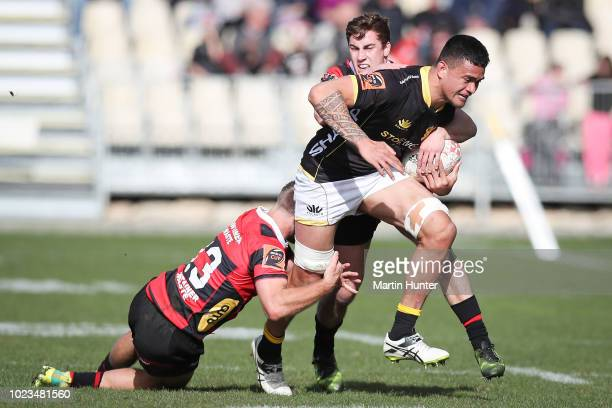 Vaea Fifita of Wellington is tackled during the round two Mitre 10 Cup match between Canterbury and Wellington at AMI Stadium on August 25 2018 in...