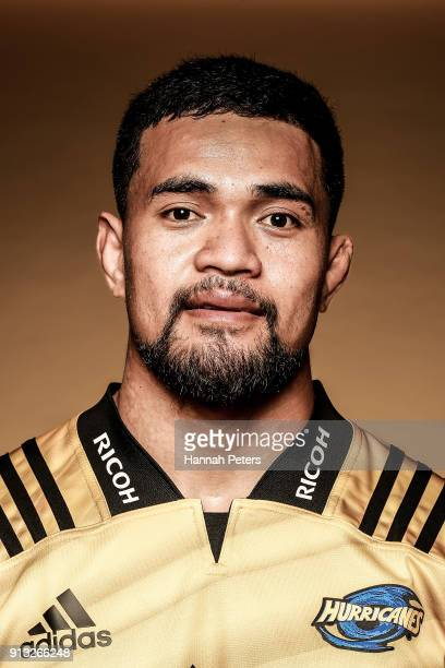Vaea Fifita poses during the Wellington Hurricanes 2018 Super Rugby headshots session on January 22 2017 in Auckland New Zealand