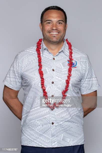 Vaeluaga Steve Jackson, Head Coach of Samoa poses for a portrait during the Samoa Rugby World Cup 2019 squad photo call on September 15, 2019 in...
