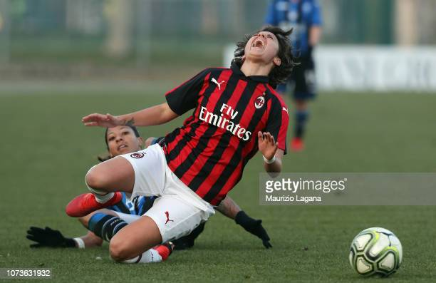 Vaenitna Giacinto of Milan competes for the ball with Adrienne Jordan of Mozzanica during the Women Serie a Match between AC Milan and Mozzanica...