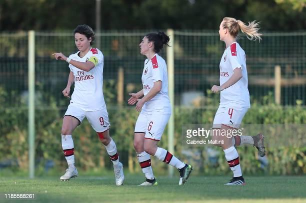Vaentina Giacinti of AC Milan Women celebrates after scoring a goal during the Women Serie A match between Florentia and AC Milan on November 30 2019...