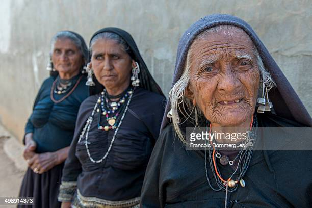 Vagadia Rabari lead a nomadic life, whereas they live with their animals in villages. Women are dressed in a long black woolen shawl called lobadi,...