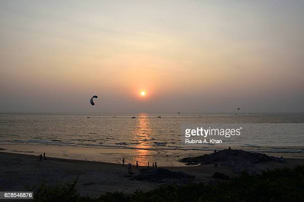 Vagator Beach sunset as seen from Rock Pool at W Goa on December 8 2016 in Goa India