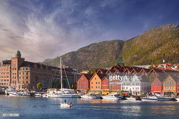 vagen harbor and bryggen - bergen norway stock pictures, royalty-free photos & images