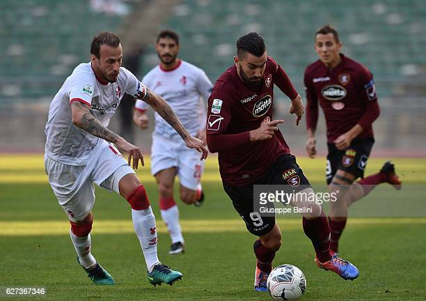 Vaggelis Moras of AS Bari and Massimo Coda of US Salernitana FC in action during the Serie B match between AS Bari and US Salernitana FC at Stadio...