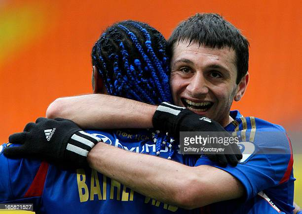 Vagner Love and Alan Dzagoev of PFC CSKA Moscow celebrate after scoring a goal during the Russian Premier League match between PFC CSKA Moscow and FC...