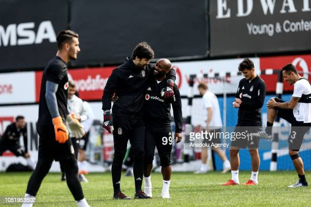 Vagner Love and goalkeeper Tolga Zengin of Besiktas attend a training session ahead of the Turkish Super Lig week 9 soccer match against Goztepe at...