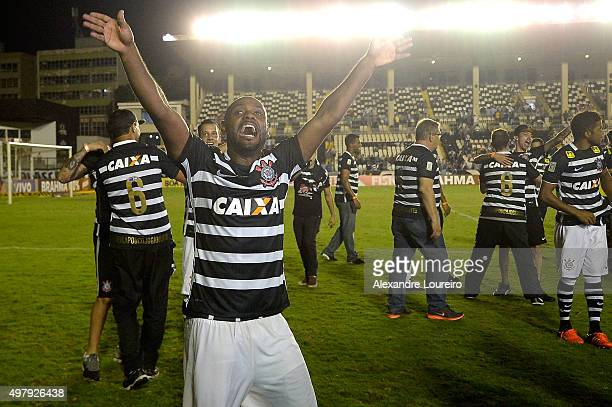 Vagner Love head coach of Corinthians celebrates the sixth title of Brazilian championship after the match between Vasco and Corinthians as part of...
