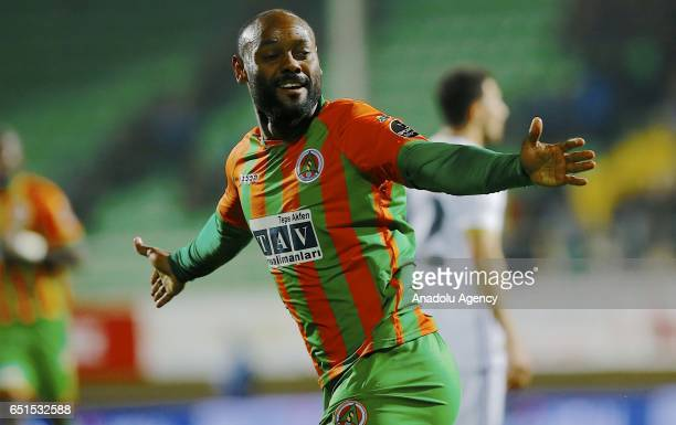 Vagner Love of Aytemiz Alanyaspor celebrates after scoring a goal during the Turkish Spor Toto Super Lig match between Aytemiz Alanyaspor and...