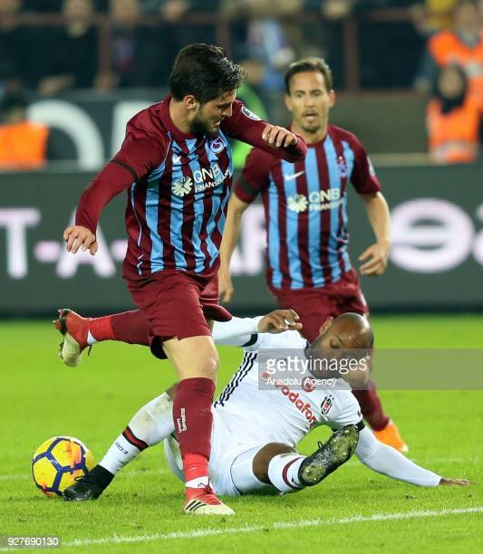 Vagner Love of Besiktas in action against Okay Yokuslu of Trabzonspor during the Turkish Super Lig soccer match between Trabzonspor and Besiktas at...