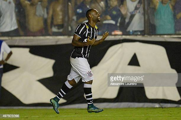 Vagner Love of Corinthians celebrates a scored goal during the match between Vasco and Corinthians as part of Brasileirao Series A 2015 at Sao...