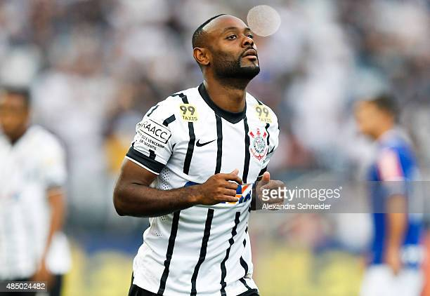 Vagner Love of Corinthians in action during the match between Corinthians and Cruzeiro for the Brazilian Series A 2015 at Arena Corinthians stadium...